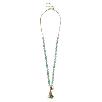 Amazonite beads with cotton tassel with matching gold chain layering: Set of Two
