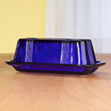 Cobalt Blue Depression Style Glass Butter Dish