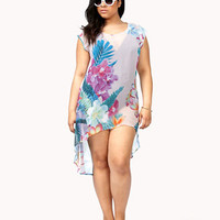 Tropical Print High-Low Top | FOREVER 21 - 2039393408