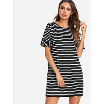Black And White Flounce Sleeve Striped Tunic Dress