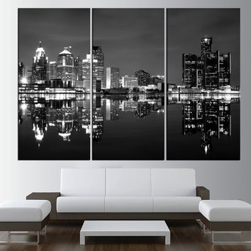 Detroit Skyline wall art canvas, large wall art print, extra large wall art, skyline canvas art, modern wall art, detroit large art  t460