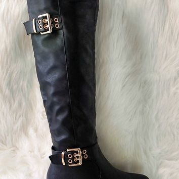 Women's Black Tall Boot with Double Buckle Detail