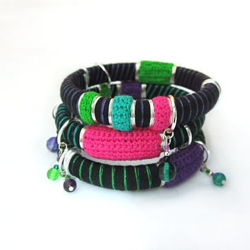 Multicolor urban style pop rock chic bangles bracelets,black,magenta,spring