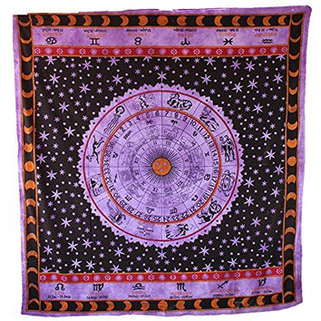 Handicrunch Zodiac Astrology Tapestry Boho Indian Wall Hanging Wall Throw, Large Table Runner Bed Cover Indian Art, Cotton Bohemian Tapestry, Hippie Tapestry