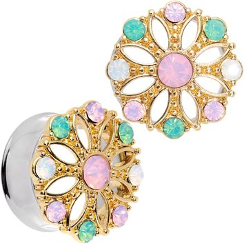 25mm Pink Green White Gem Glam Flower Double Flare Tunnel Plug Set