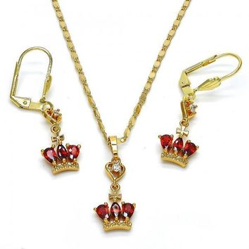 Gold Layered 10.236.0020 Necklace and Earring, Heart and Teardrop Design, with Garnet and White Cubic Zirconia, Polished Finish, Golden Tone