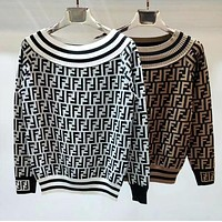 FENDI Fashion Women Sexy Double F Letter Off Shoulder Long Sleeve Knit Sweater Pullover Top I13695-1