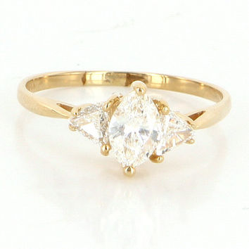 Vintage 14 Karat Yellow Gold Trillion Cut Diamond Engagement Right Hand Ring