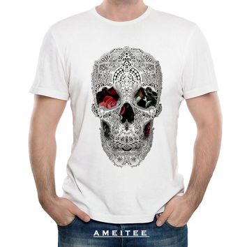47c231cd Skull Skulls Halloween Fall Hipster Cool Lace Hollow Hip Hop T-