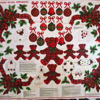 Christmas Plaid Appliques Fabric Panel