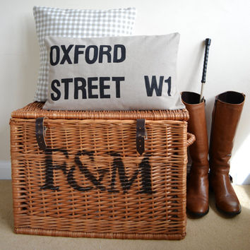 London Street Sign Cushion Oxford Street by bluebellsandbunting