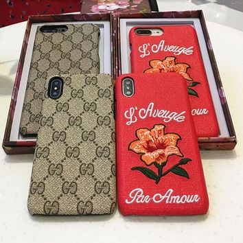 """""""Gucci"""" Temperament Retro GG Flower Embroidery iPhoneX/8/6S Hard Phone Case Apple iPhone 7 Plus Leather Phone Shell"""