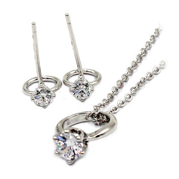 simple style mini ring crystal necklace earring silver set