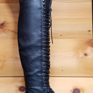 Mark & Maddux Black Corset Lace Over the Knee Pirate Boot Travis 5.5-10