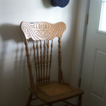 On Sale Vintage Victorian Oak Press Back Chair Shabby Chic