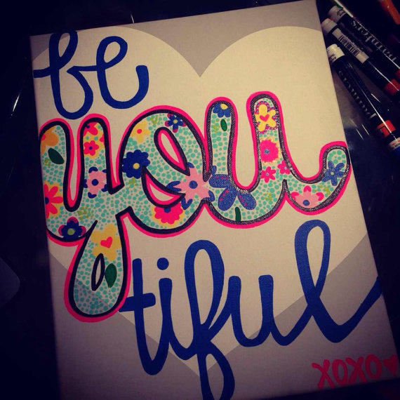 12 Diy Painting Ideas That Will Help You To Upgrade The: Be You-tiful Floral And Heart Canvas From SouthernSweetArt On