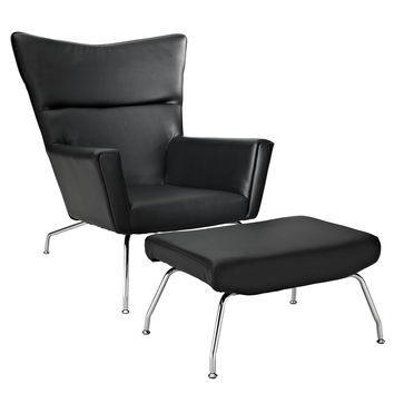 LexMod Style ch445 Wegner Wing Dining Chair and Black Leather Ottoman