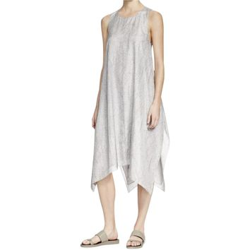 Eileen Fisher Womens Petites Silk Printed Casual Dress