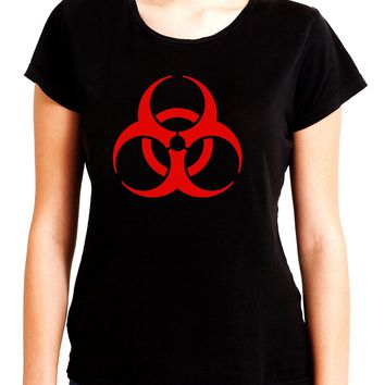 Red Bio-Hazard Radiation Women's Babydoll Shirt Top Gothic Clothing