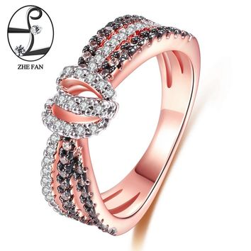 ZHE FAN Love Knot Women Engagement Wedding Ring Rose Gold Color Plated Coffee White AAA Cubic Zirconia Romantic Jewelry 3 Tone