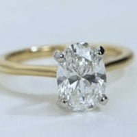 1.01ct  Oval Diamond Engagement Ring EGL certified 18kt Yellow Gold JEWELFORME BLUE