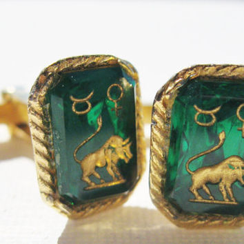 Vintage Taurus Cufflinks Etched Green Glass Bull  Zodiac Sign Men's Designer Accessories