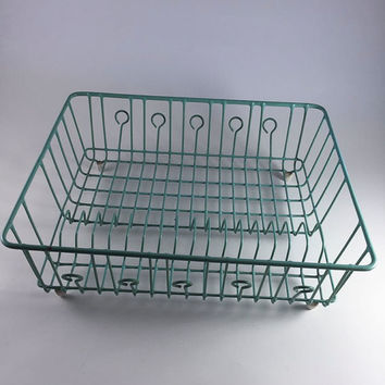 Vintage Turquoise Aqua Dish Drainer Retro Rubber Coated Metal Dish Rack 1950 Kitchen Storage Organizer