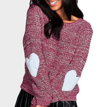 Heart On My Sleeve Warm Winter Knitted Sweater