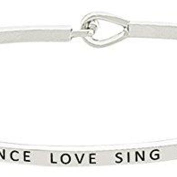 DANCE LOVE SING LIVE Inspirational Positive Quote Mantra Phrase Engraved Thin Bangle Hook Bracelet  Jewelry Gift for Women amp Teen Girls