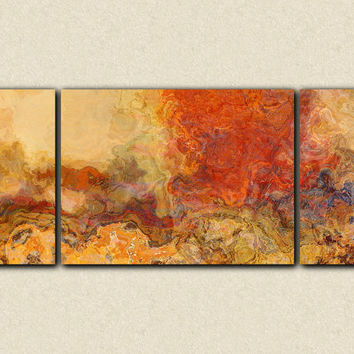 "Extra large triptych abstract art, 30x72 giclee canvas print, in red orange and tan, from abstract painting ""Magma"""