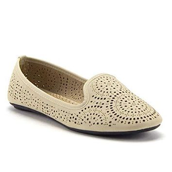 Women's Kelly-18 Laser Cut Out Slip On Smoking Loafers Ballet Flats Shoes