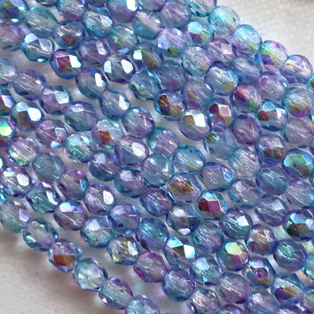 Lot of 50 4mm lavender AB Czech glass beads, light blue, purple faceted round beads C5625