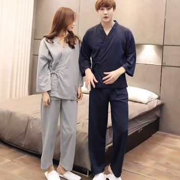 Promotional Sale Polka Dot Pajama Men Kimono Pajama Sleepwear Casual Loose Strappy Homewear Women Comfy Long Sleeve Nightwear