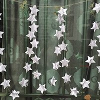 10 Feet Long 2'' Paper Circle Dots and Stars Hanging Garland Wedding Birthday Party Baby Shower Background Decorative