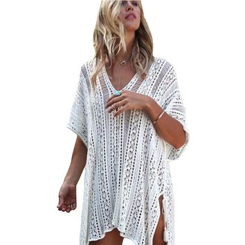 2017 Knit Solid Color Beach Cover Ups