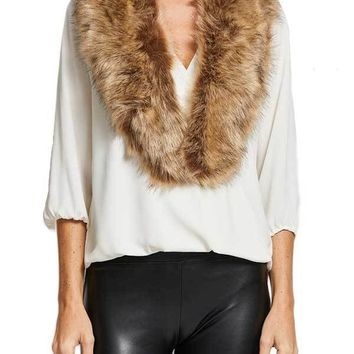 Look By M Faux Fur Stole (available in brown and black)