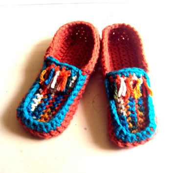 Boho Slippers Ethnic Moccassin Slippers Crochet Slippers Thick Indoor Loafer Slippers Women Men Unisex Slipper Socks House Shoes Gift Ideas