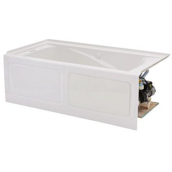 American Standard EverClean 5 ft. x 32 in. Left Drain Whirlpool Tub in White-2425LC-LHO.020 - The Home Depot
