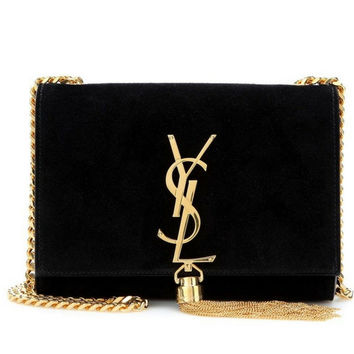 SAINT LAURENT Classic Small Monogram suede shoulder bag