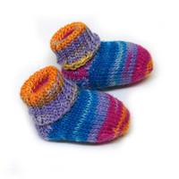 Newborn socks, purple yellow blue fuchsia striped baby socks, stay-on socks, thin wool baby booties, handknit
