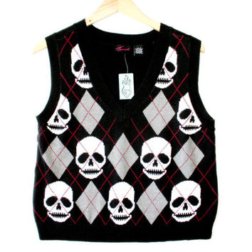Torrid Argyle Skull Halloween Ugly Sweater Vest - New! - The Ugly Sweater Shop