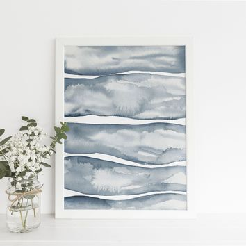 Watercolor Blue Abstract Waves Art Print