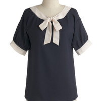 Modern Madeline Top in Navy | Mod Retro Vintage Short Sleeve Shirts | ModCloth.com