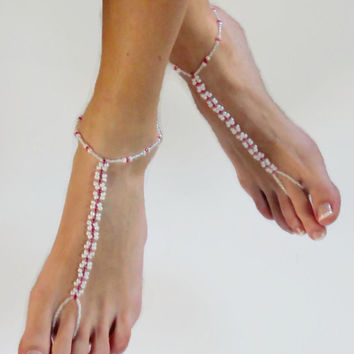 White and Pink Barefoot Sandals