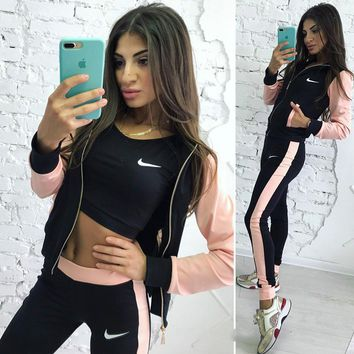 NIKE Women Fashion Vest Tank Top Cardigan Jacket Coat Pants Trousers Set Three Piece