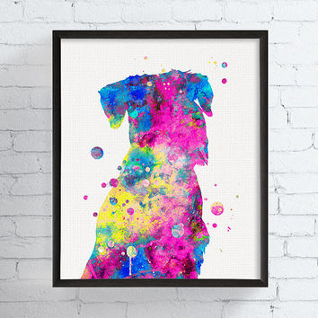 Schnauzer Art Print, Schnauzer Portrait, Schnauzer Watercolor Painting, Schnauzer Wall Decor, Schnauzer Gifts, Dog Portrait, Dog Art Print