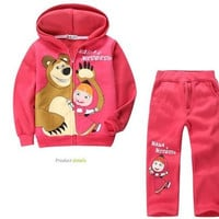 new! Retail children clothing set, Baby Girls Masha Bear Warm Suit, hoody jacket+pants cartoon clothes kids sportswear = 1932357892