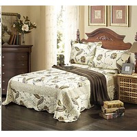 Tache 2-3 Piece Floral Seasons Eve Reversible Bedspread Quilt Set (SD2338)
