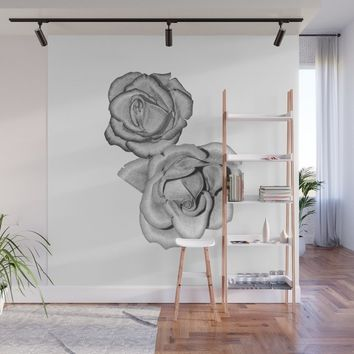 Grey Roses Wall Mural by drawingsbylam