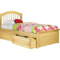Windsor Twin Bed Raised Panel Footboard Raised Panel Under Bed Drawers Natural Maple Finish